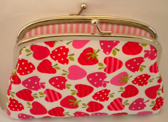Coin purse - Pink Strawberry kawaii, metal frame with divider and 2 sections- candy stripes